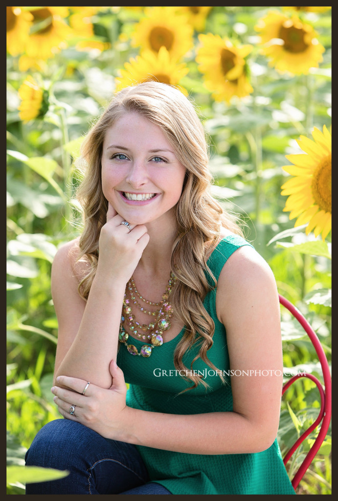 Sunflower Field Chester County Pa Senior Portraits